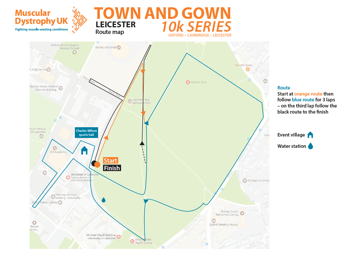 Leicester Town and Gown 10k route