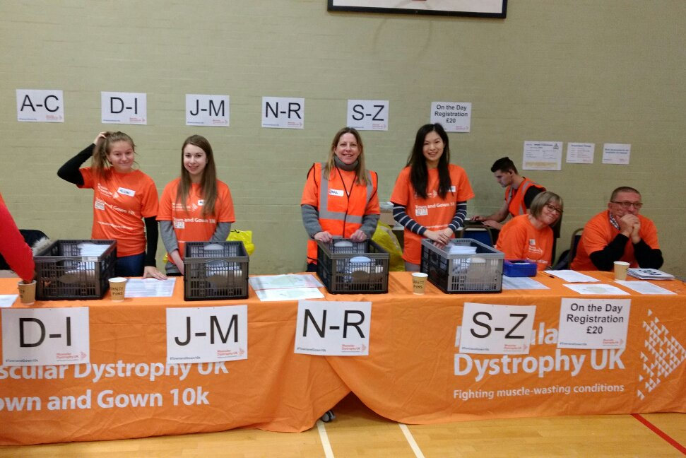 Registration Booth for Leicester Town and Gown 10k