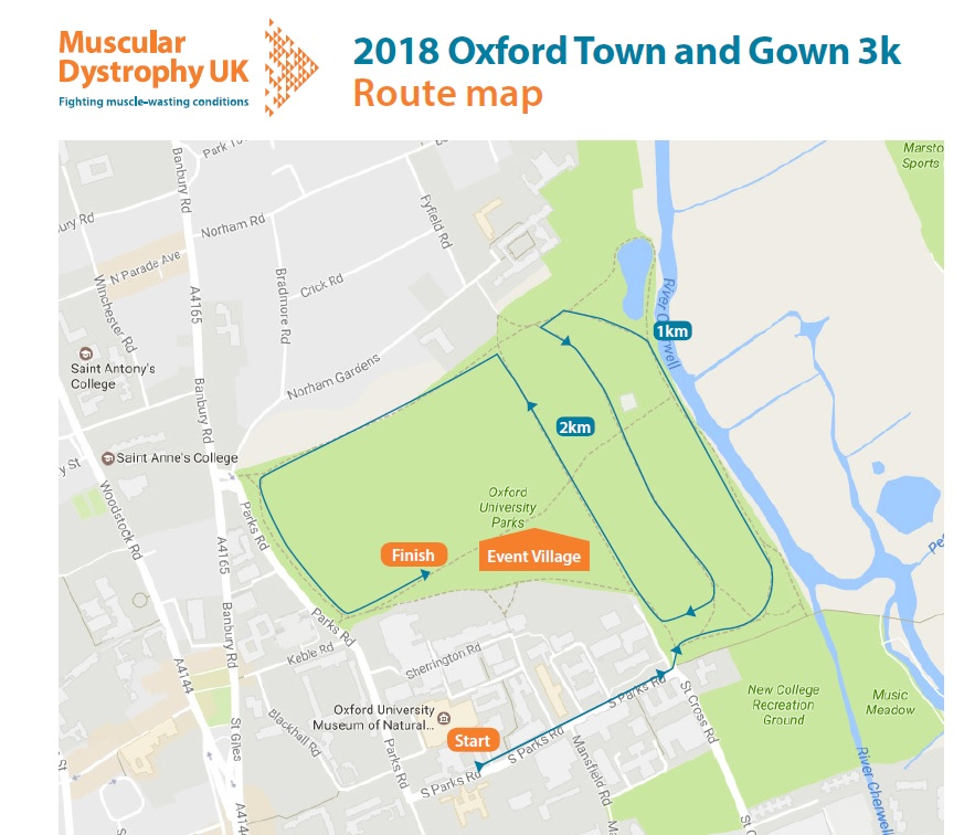 Oxford Town and Gown Junior 3k Route